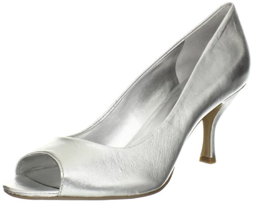 Nine West Women'S Quinty Peep-Toe Pump,Silver Metal Glove,9.5 M Us