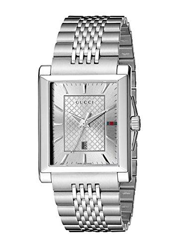 Gucci  YA138403 - Reloj de cuarzo unisex, con correa de acero inoxidable, color plateado