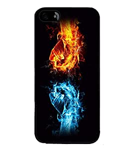 printtech Fire Ice Hands Punch Back Case Cover for Apple iPhone 5C