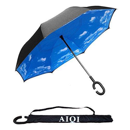Speculare doppio strato ombrello da Aiqi-Forte impermeabile/protezione UV/Antivento-Sunny o pioggia Anfibio con mani libere a manico, ideale per viaggi e l' uso dell' automobile bianco Blue Sky