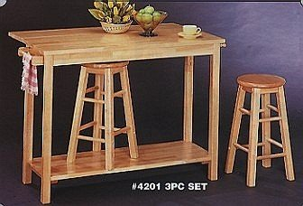Buy Low Price Natural Finish Drop Leaf Style Wood Breakfast Table &2 Bar Stools/Stool Set (VF_4201)