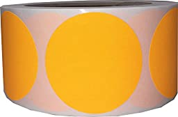InStockLabels Color Coding Dot Labels 2 Inch 500 Adhesive Stickers, Fluorescent Orange