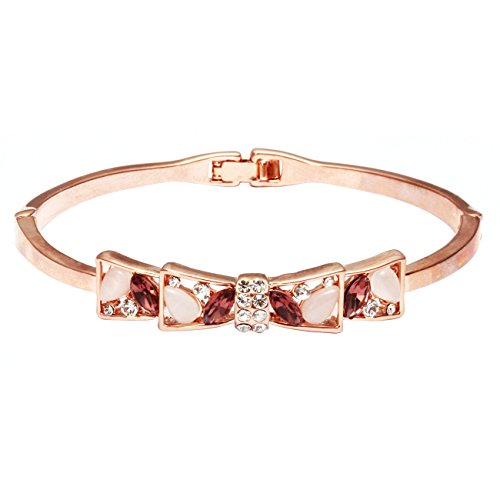 City Ouna® Elementi di Swarovski Gioielli oro mano elegante elegante fascino braccialetto donne catena rosa placcato con fiocchi tipo strass Bangle per ragazze femminile