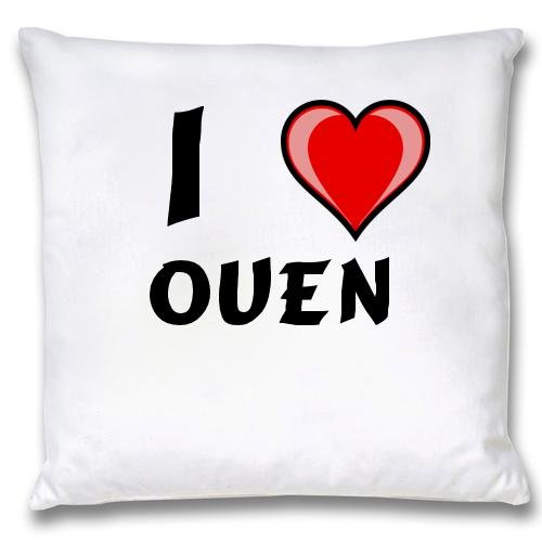 White Cushion Cover with I Love Ouen (first name/surname/nickname) white cushion cover with i love roddric first name surname nickname