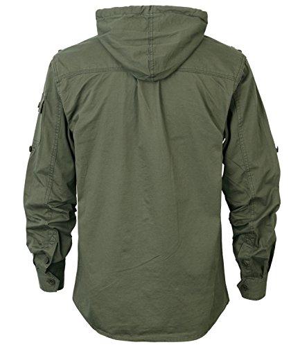 ililily Men Military Vintage Hood Slim Fit Tactical Roll Up Shirt Jacket 2