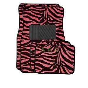 A Set Of 4 Universal Fit Animal Print Carpet Floor Mats For Cars / Truck - Pink Zebra front-322610