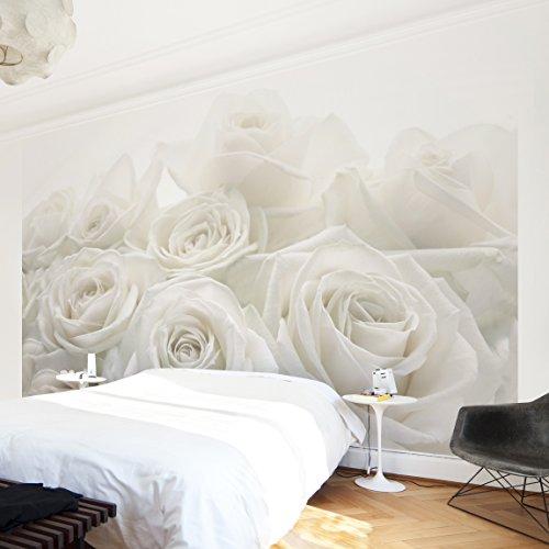 Fotomural premium white roses mural apaisado papel - Papel decorativo barato ...
