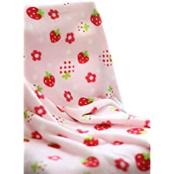 Summer Pink Strawberry Fleece Baby Toddler Multifunction Blanket 150x100cm