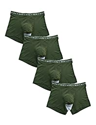 David Archy Men\'s 4 Pack Micro Modal Separate Pouches Trunks (M,Green)