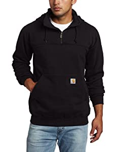 Carhartt Men's Heavyweight Hooded Zip Mock Sweatshirt, Black, X-Large