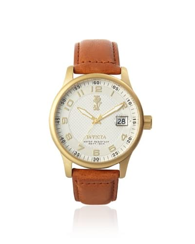 Invicta Men's 12824 I-Force Cream Dial Light Brown Leather Strap Watch