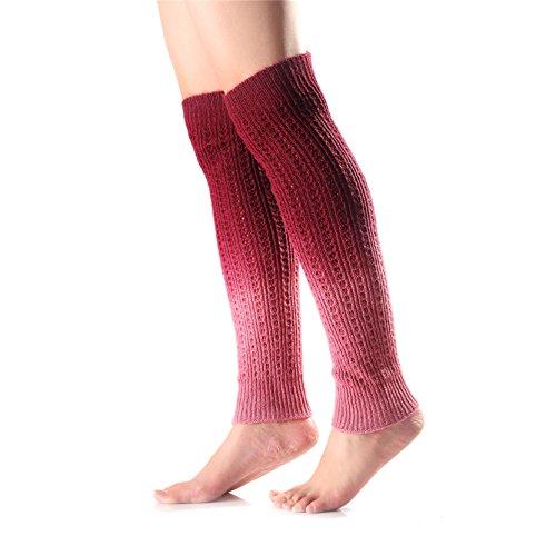 mujeres-color-gradiente-calentadores-bota-elastica-brazalete-rojo