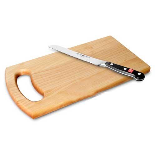 """Wusthof 1590 6"""" Forged Classic Bread Knife With Bonus Birch Cutting Board"""