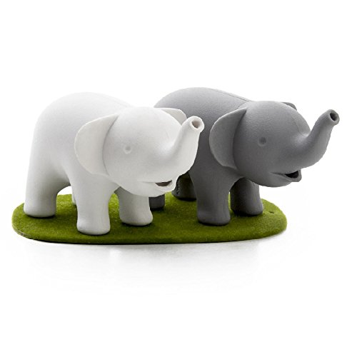 Cool Salt and Pepper Shakers Duo Elephant by Qualy Design Studio. White and Grey Shakers and Green Magnetic Stand Base. Cool Kitchenware. Will Make Unique Gift to Cooking Lovers. (Dinosaur Friends Soap Dish compare prices)