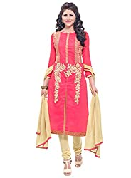Latest Embroidered Chanderi Red And Grey Dress Material