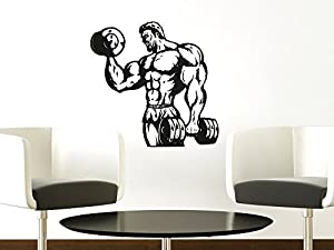 wandtattoo wandaufkleber fitness sport mann fitnessraum wandsticker wanddeko 58x57cm schwarz. Black Bedroom Furniture Sets. Home Design Ideas