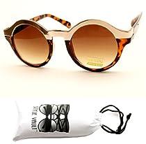 V130-vp Round Wayfarer Metal Top Sunglasses (Fil Gold/brown Tortoise, Uv400)