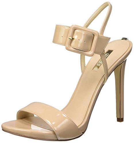 Guess Abbie2 Patent Pu Sandali con cinturino alla caviglia, Donna, Beige (Nude), 40