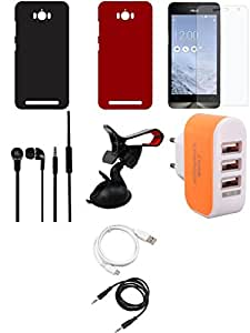 NIROSHA Tempered Glass Screen Guard Cover Case Headphone USB Cable Mobile Holder Charger for ASUS Zenfone Max - Combo