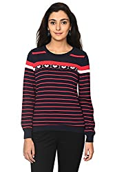 Honey by Pantaloons Women's Round Neck Sweater (205000005621008, Blue, Large)