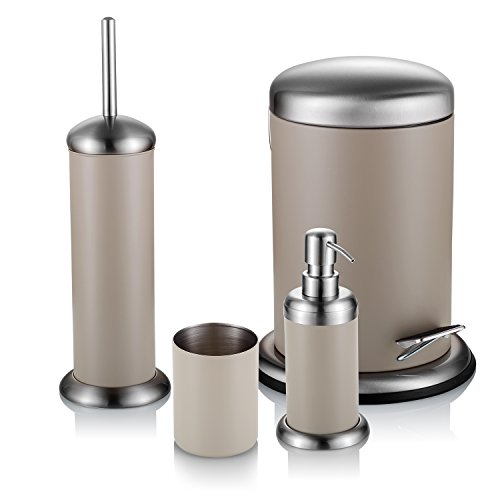 ATECKING 4 pcs Bathroom Accessories Set Lotion dispenser, Toilet Brush, Toothbrush cup & Trash Can (Beer Trash Can compare prices)