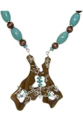 """One-of-a-kind Stunning Unique Hand Carved Wood and Hand-wired Wood Luxury Statement Necklace, 18-1/2""""one-of-a-kind Stunning Unique Hand-wired & Carved Wood Luxury Blue Gemstones Statement Necklace, 18-1/2"""""""