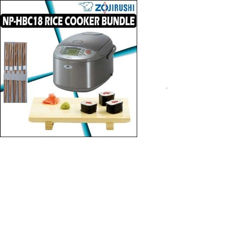 Zojirushi Np-Hbc18 10-Cup Rice Cooker And Warmer (Stainless Steel) + Helens Asian Kitchen Accessory Kit