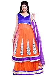 Ishin Georgette Net Party Wear Embellished Orange & Blue Lehenga
