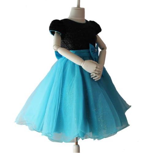 黒に青のスカートがゴージャスd-0034 子供ドレス発表会 キッズドレス 子どもドレス ハードチュールパニエ内蔵 ((12)140-150cm 肩幅28cm 胸囲66cm 胴囲70cm 身丈27cm 総丈80cm 腕周り30cm)