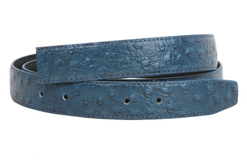 Clamp On One Size Fits All Ostrich Print Faux Leather Belt Strap Size: One-size-fits-all Color: Blue