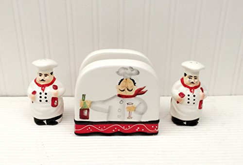 Tuscany Colorful Plump Bistro Chef Hand Painted Napkin Salt Pepper Shakers Set Of 3pcs