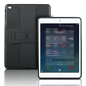 Photive iPad Air Lightweight Hard Shell Case with Built in 3 Position Kick Stand. Dual Layer Shock Absorbing Case for the iPad Air . Black