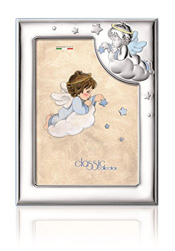"Silver Touch USA Sterling Silver Picture Frame, Angel, Blue, 3.5"" X 5"""