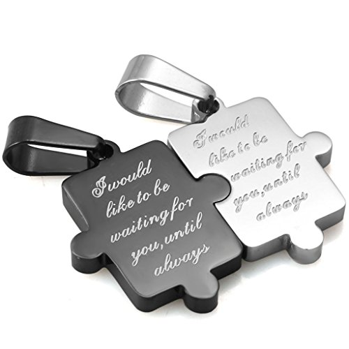 Stainless Steel Puzzle Pendant Best Friends Necklace Couples Girlfriend Valentines Jewelry (Couple Necklace Stainless Steel compare prices)