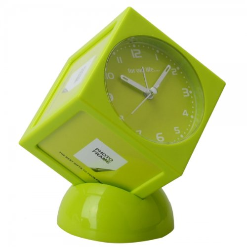 Fine Cubes-Shaped Analog Alarm Clock With Photo Frame Green