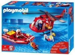 Playmobil - 4428 - Pompiers -  Les Sauveteurs : Helicoptere + Bateau