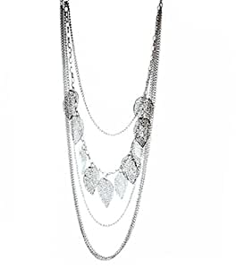 Vintage Reto Style Silver Leaves Multi Layered Necklace Leaf Long Chain