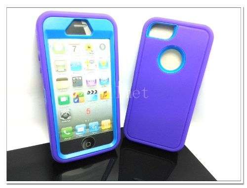 Buy  Multi Color Iphone 5 5S Body Armor Silicone Hybrid Cove Hard Case, Three Layer Silicone PC Case Cover for iPhone 5 5S (Purpple+Blue)