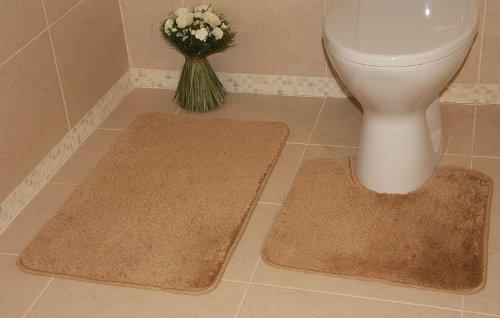 Bolero Beige Sand Bath and Pedestal Washable Bathroom Mats 2 Piece Set 3112 - 2 Sizes