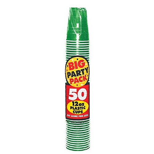 Amscan Big Party Pack 50 Count Plastic Cups, 12-Ounce, Green