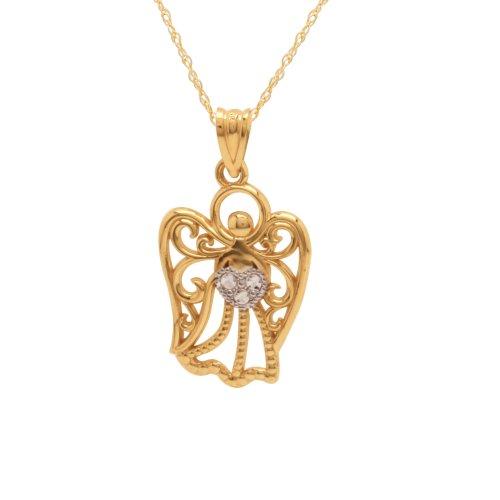 10k Polished Diamond-Cut Angel Pendant Necklace, 18