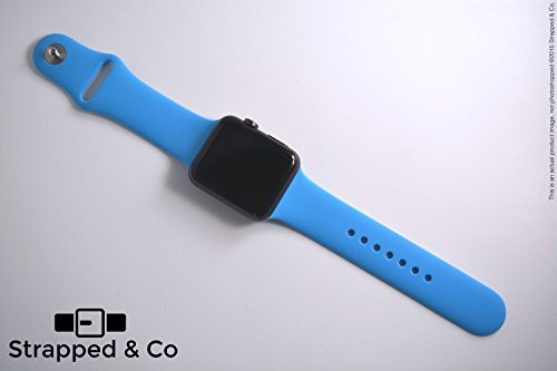 NEW! Premium Apple Watch Sport Band Replacement Strap by Strapped & Co (Rubberized Silicone, 25 Colors, SUPER SOFT on skin - Best Material and Best Quality Guranteed!) (38mm-Blue-SM)