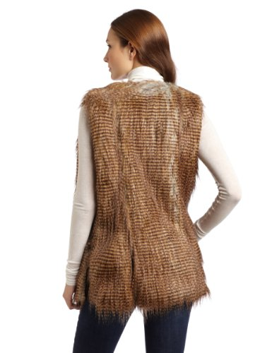 Twelfth St. By Cynthia Vincent Women''''s Arizona Faux Fur Vest, Brown/Black/White, Petite