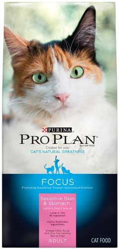 Purina Pro Plan Dry Cat Food, Focus, Adult Sensitive Skin and Stomach Lamb and Rice Formula, 7-Pound Bag, Pack of 1
