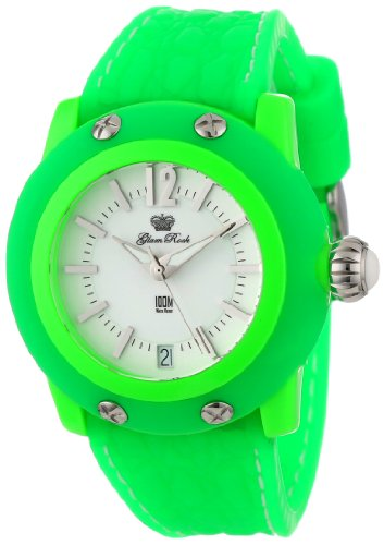 Glam Rock Women'S Gr23015-Dbz Miss Miami Beach White Dial Green Silicone Watch