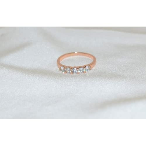14k Rose Gold Plated Clear Cubic Zirconia Ring Size 9