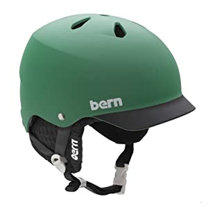 Bern Watts EPS Matte Green/Black Brim Helmet with Black Knit (Small/Medium)