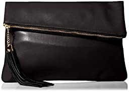 MG Collection Snakeskin Foldover Clutch, Black, One Size