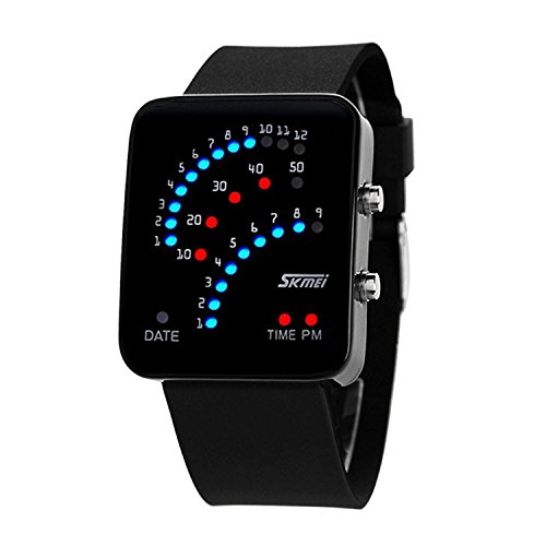 Waterproof Unisex Binary Digital LED Sport Watch