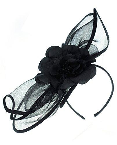 NYFASHION101 Flower Cocktail Sinamay Fascinator Satin Headband - FS Black